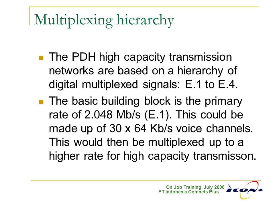 On Job Training, July 2006 PT Indonesia Comnets Plus Normal condition for unidirectional SNCP:  Concurrent sending (transmit end)  Selective receiving (receive end) SubNetwork Connection Protection