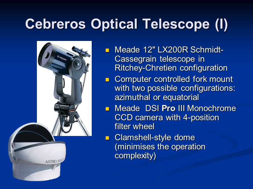 Cebreros Optical Telescope (II) Bradford courtesy Weather Station Dome Station Tracking control CCD Camera
