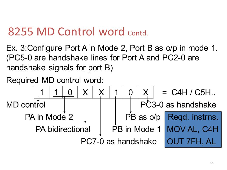 8255 MD Control word Contd.Ex. 3:Configure Port A in Mode 2, Port B as o/p in mode 1.