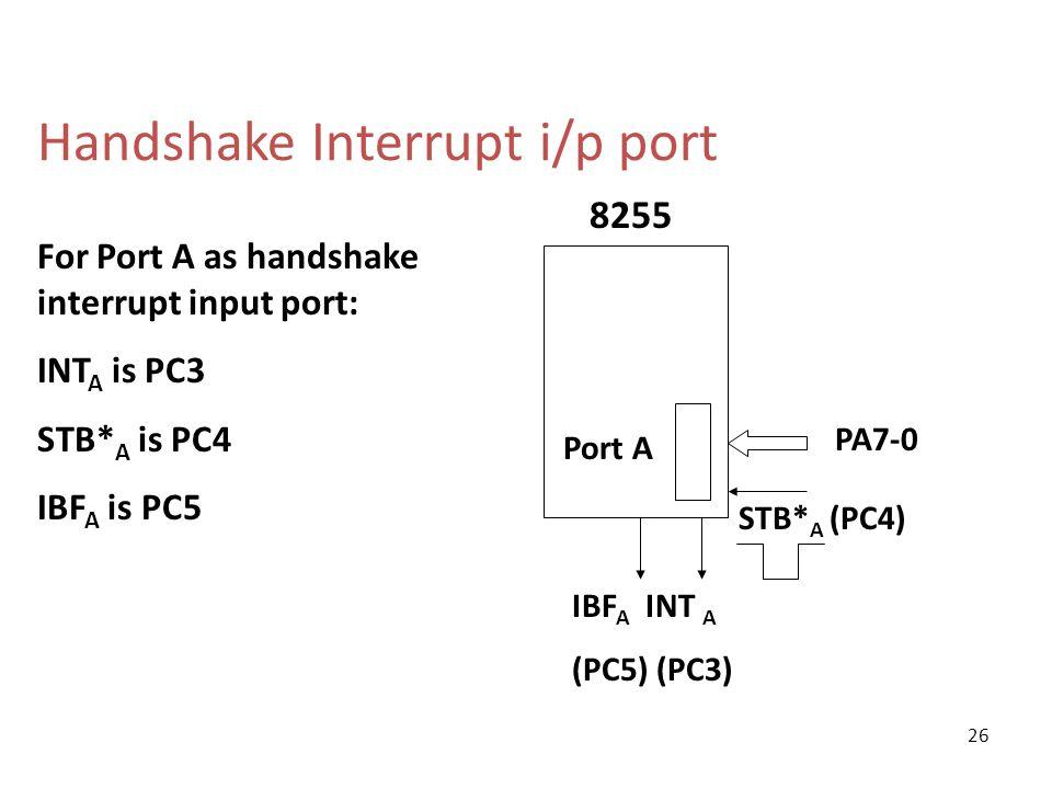 Handshake Interrupt i/p port STB* A (PC4) Port A PA7-0 8255 IBF A INT A (PC5) (PC3) For Port A as handshake interrupt input port: INT A is PC3 STB* A