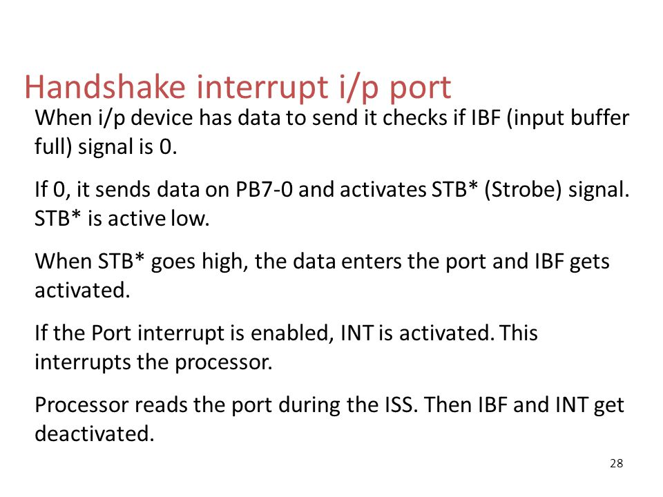 Handshake interrupt i/p port When i/p device has data to send it checks if IBF (input buffer full) signal is 0.
