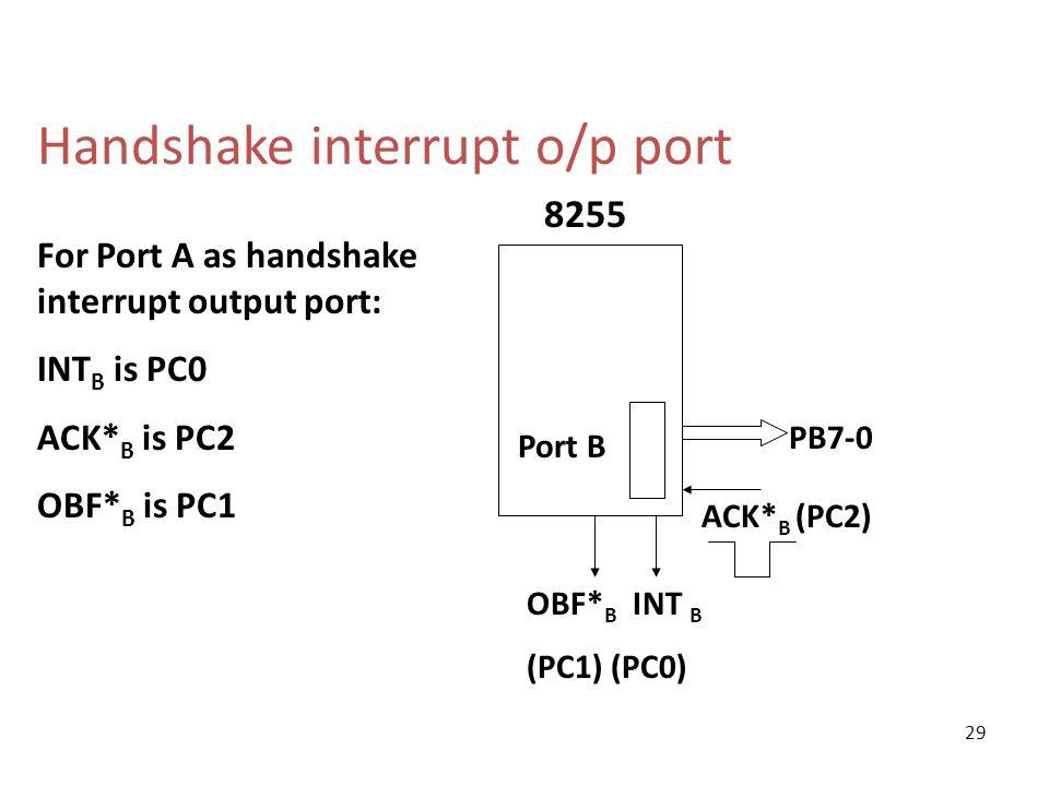 Handshake interrupt o/p port ACK* B (PC2) 8255 Port B PB7-0 OBF* B INT B (PC1) (PC0) For Port A as handshake interrupt output port: INT B is PC0 ACK*