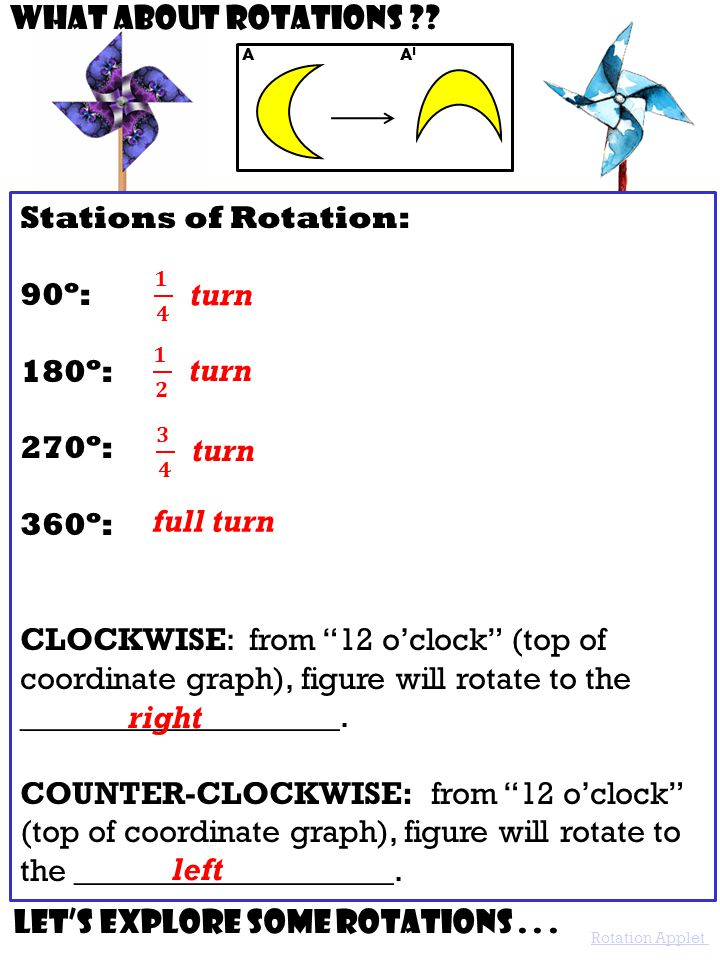 """A AIAI Stations of Rotation: 90º: 180º: 270º: 360º: CLOCKWISE: from """"12 o'clock"""" (top of coordinate graph), figure will rotate to the ________________"""