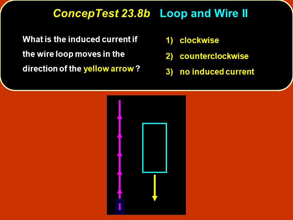 What is the induced current if the wire loop moves in the direction of the yellow arrow ? 1) clockwise 2) counterclockwise 3) no induced current I Con