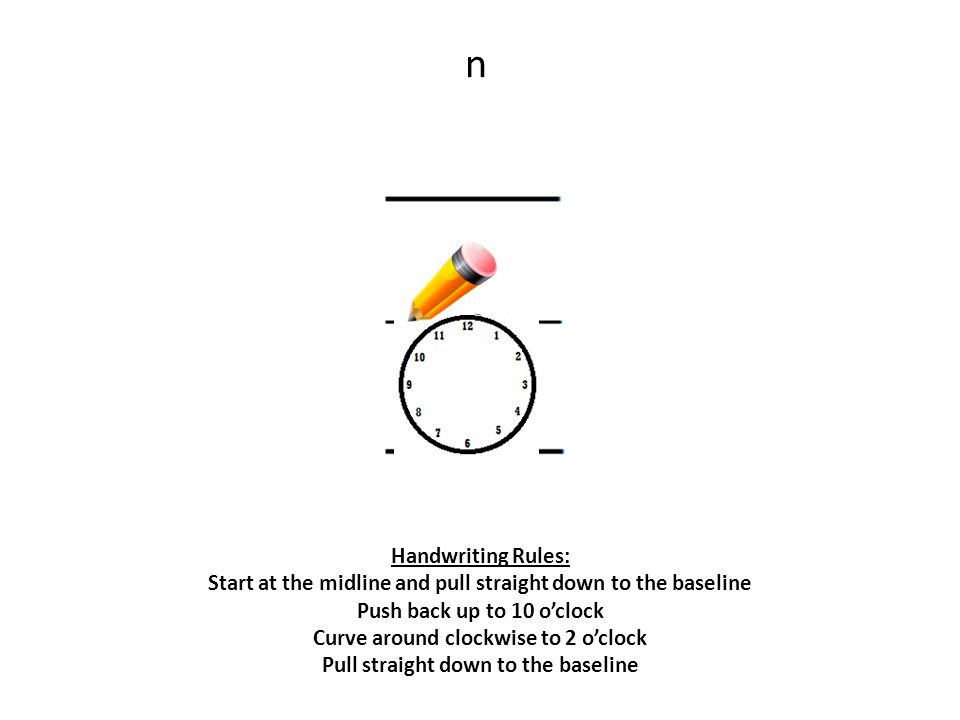 n Handwriting Rules: Start at the midline and pull straight down to the baseline Push back up to 10 o'clock Curve around clockwise to 2 o'clock Pull straight down to the baseline