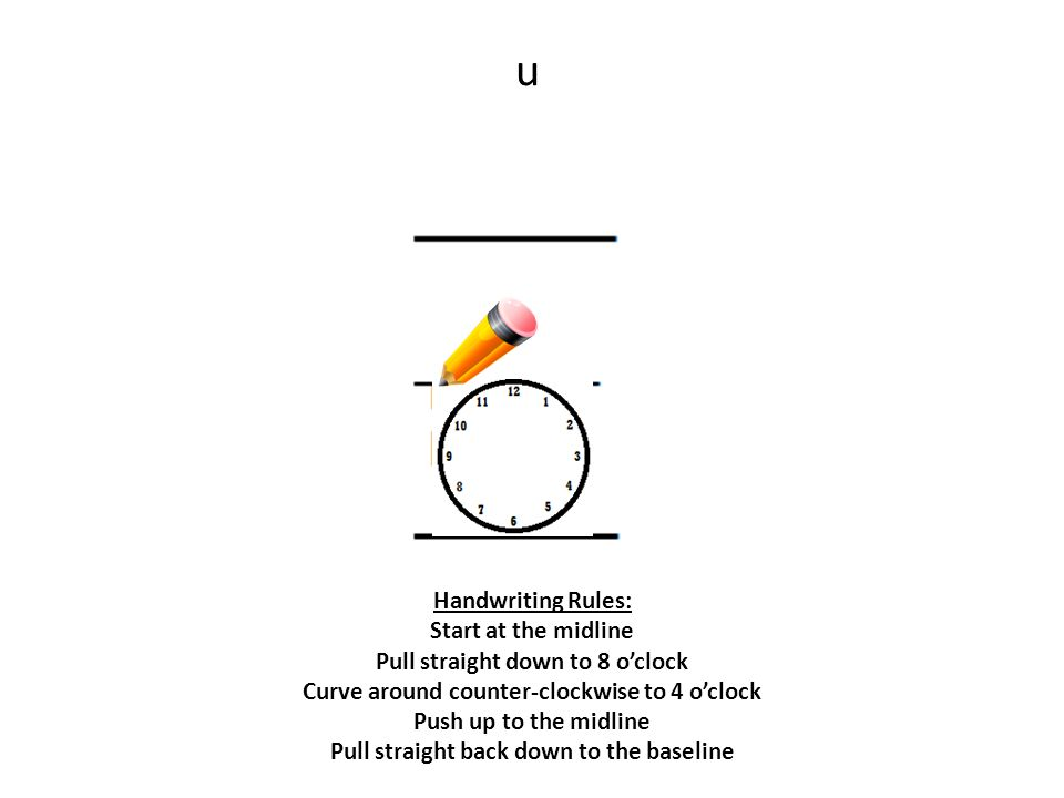 u Handwriting Rules: Start at the midline Pull straight down to 8 o'clock Curve around counter-clockwise to 4 o'clock Push up to the midline Pull straight back down to the baseline