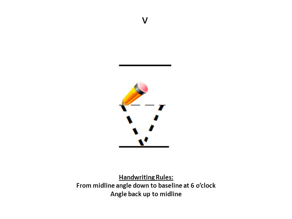 v Handwriting Rules: From midline angle down to baseline at 6 o'clock Angle back up to midline