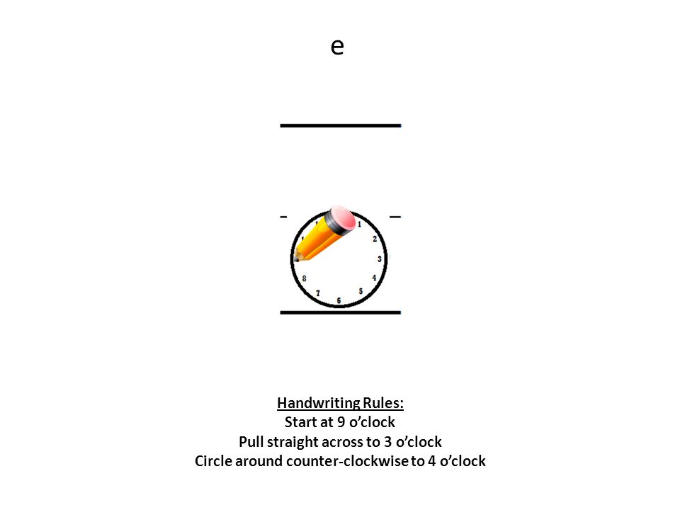 e Handwriting Rules: Start at 9 o'clock Pull straight across to 3 o'clock Circle around counter-clockwise to 4 o'clock