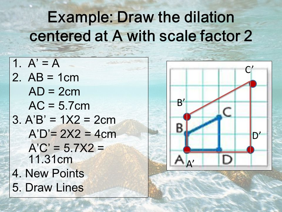 Example: Draw the dilation centered at A with scale factor 2 1.A' = A 2.AB = 1cm AD = 2cm AC = 5.7cm 3.