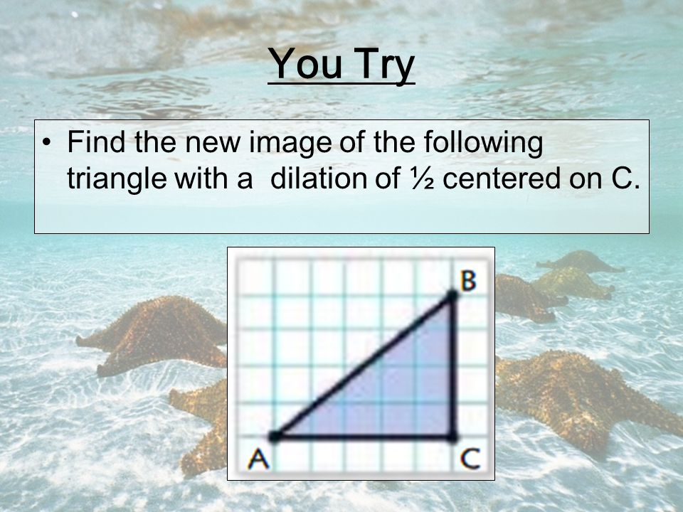 You Try Find the new image of the following triangle with a dilation of ½ centered on C.