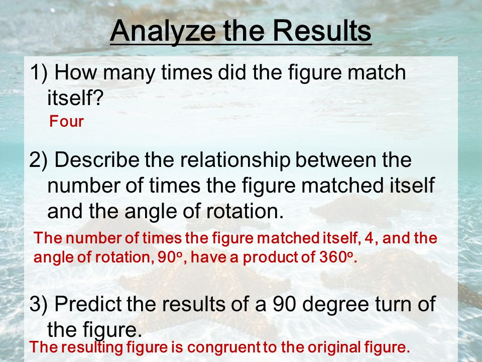 Analyze the Results 1) How many times did the figure match itself.