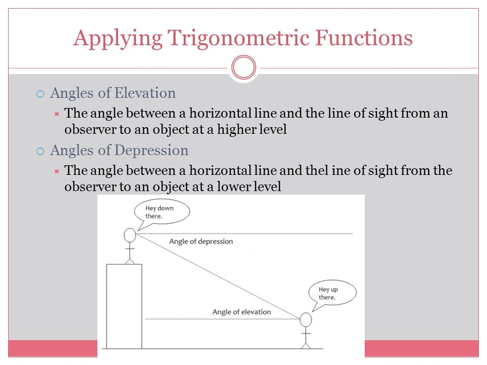 Applying Trigonometric Functions  Angles of Elevation  The angle between a horizontal line and the line of sight from an observer to an object at a higher level  Angles of Depression  The angle between a horizontal line and thel ine of sight from the observer to an object at a lower level