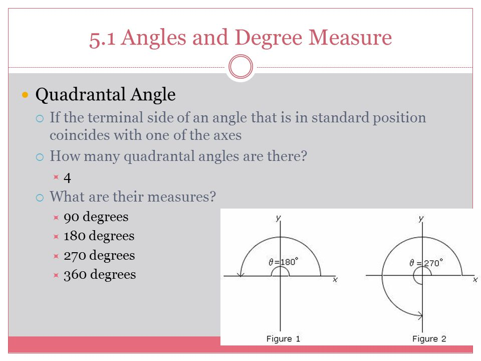 5.1 Angles and Degree Measure Quadrantal Angle  If the terminal side of an angle that is in standard position coincides with one of the axes  How ma