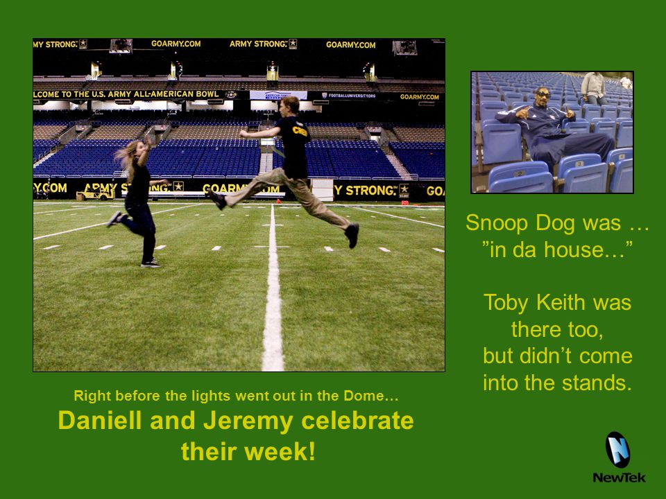 """Right before the lights went out in the Dome… Daniell and Jeremy celebrate their week! Snoop Dog was … """"in da house…"""" Toby Keith was there too, but di"""