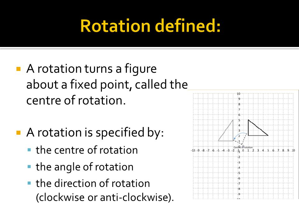  A rotation turns a figure about a fixed point, called the centre of rotation.