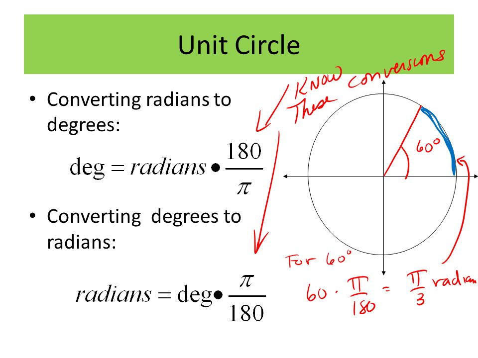 Unit Circle Converting radians to degrees: Converting degrees to radians:
