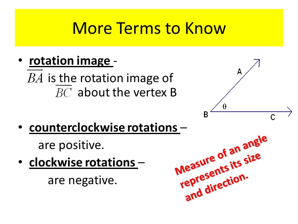 More Terms to Know rotation image - is the rotation image of about the vertex B counterclockwise rotations – are positive.