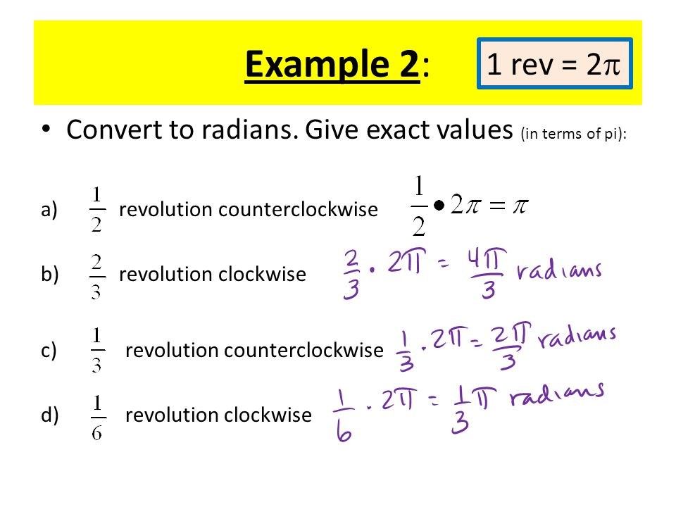 Example 2, cont: Convert to radians.