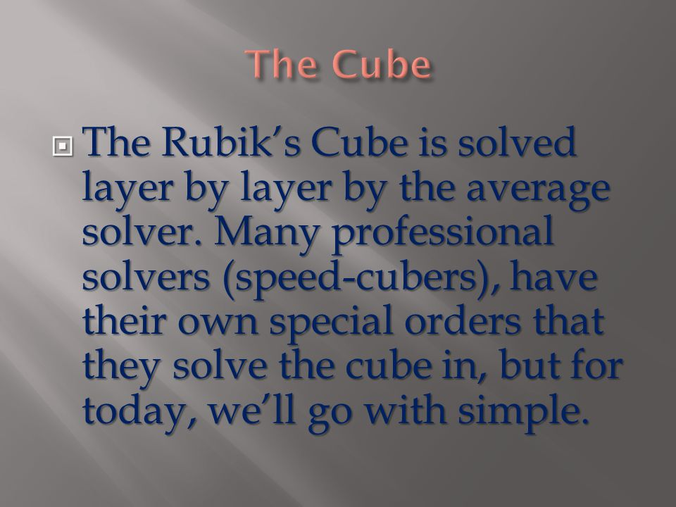  The Rubik's Cube is solved layer by layer by the average solver.