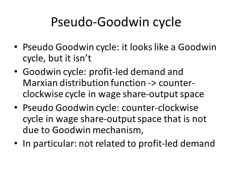 Pseudo-Goodwin cycle Pseudo Goodwin cycle: it looks like a Goodwin cycle, but it isn't Goodwin cycle: profit-led demand and Marxian distribution funct