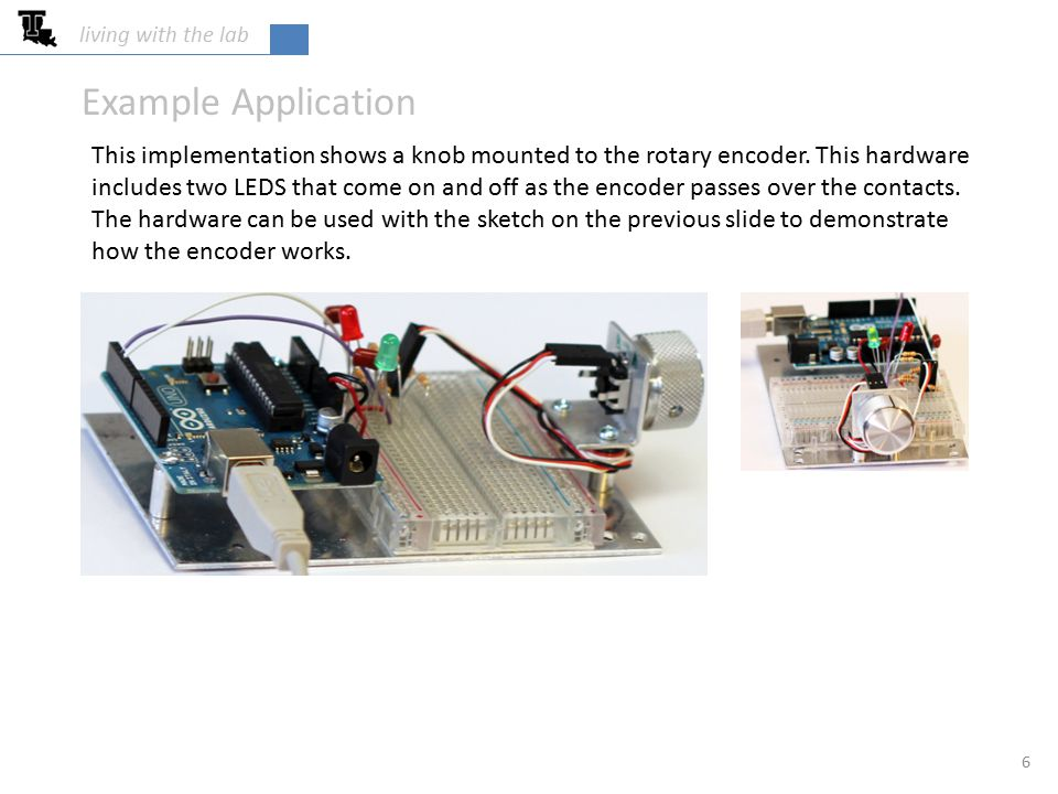 living with the lab 6 Example Application This implementation shows a knob mounted to the rotary encoder.