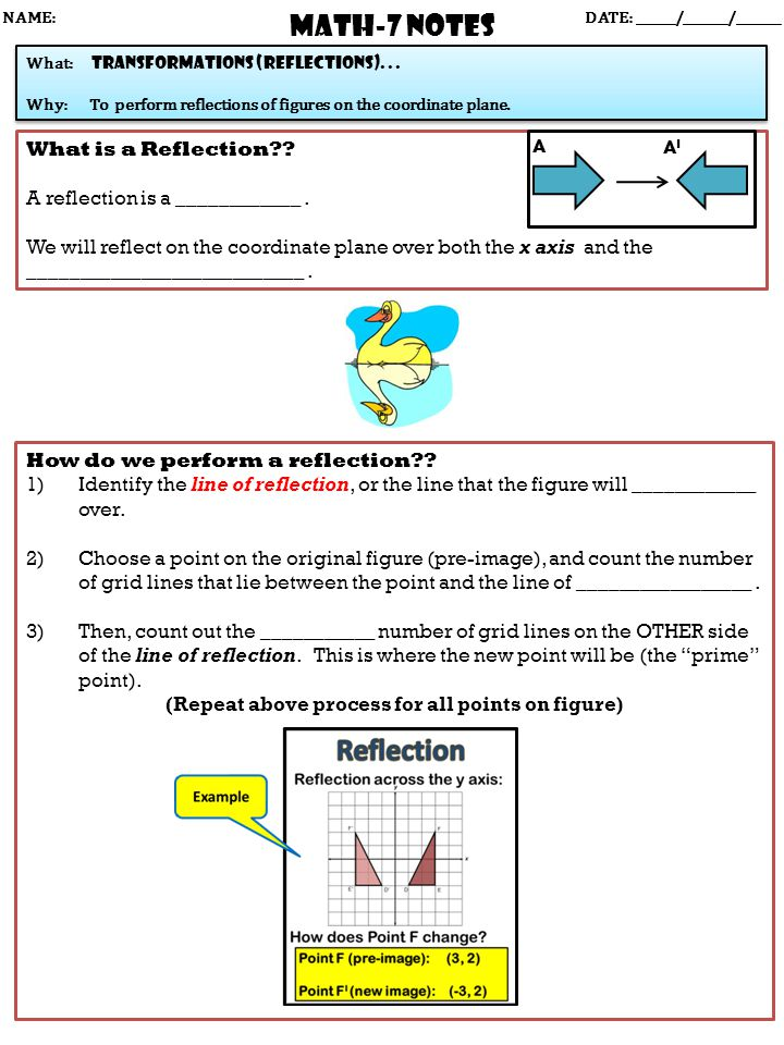 Math-7 NOTES DATE: ______/_______/_______ What: transformations (reflections)...