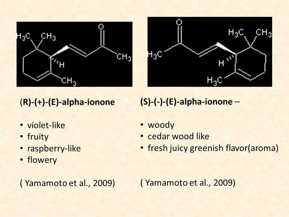 (R)-(+)-(E)-alpha-ionone violet-like fruity raspberry-like flowery ( Yamamoto et al., 2009) (S)-(-)-(E)-alpha-ionone – woody cedar wood like fresh jui