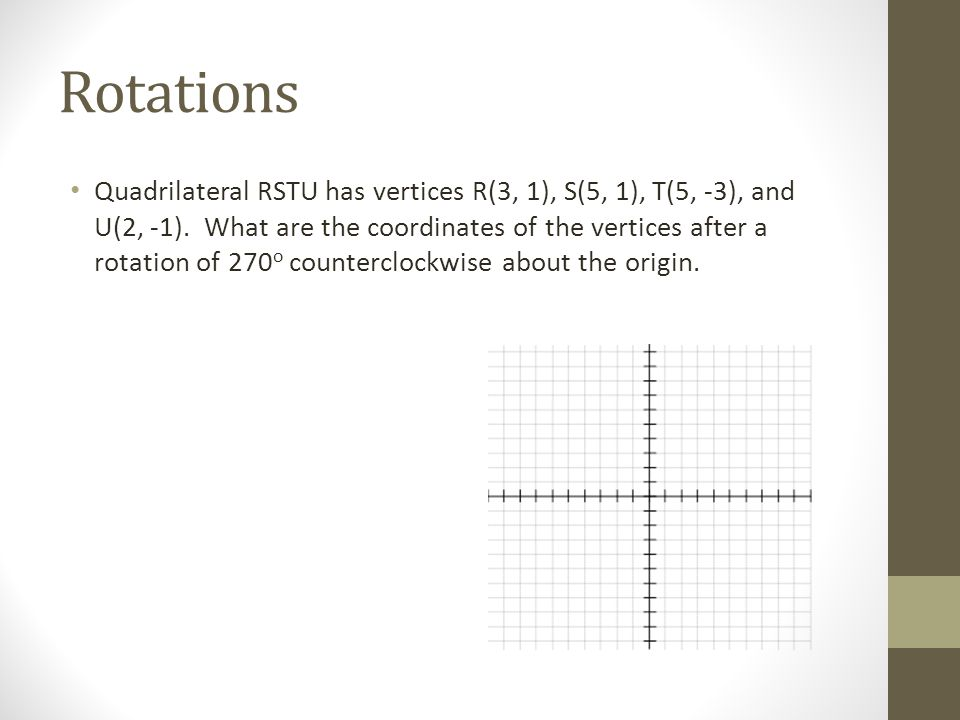 Rotations Quadrilateral RSTU has vertices R(3, 1), S(5, 1), T(5, -3), and U(2, -1). What are the coordinates of the vertices after a rotation of 270 o