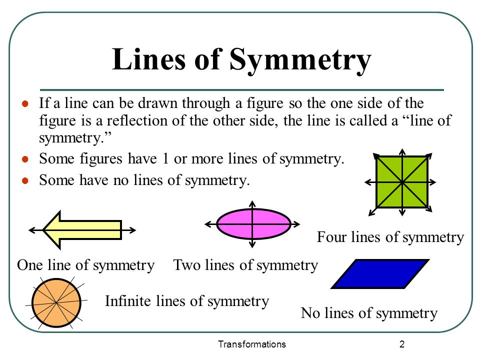 Transformations 2 Lines of Symmetry If a line can be drawn through a figure so the one side of the figure is a reflection of the other side, the line