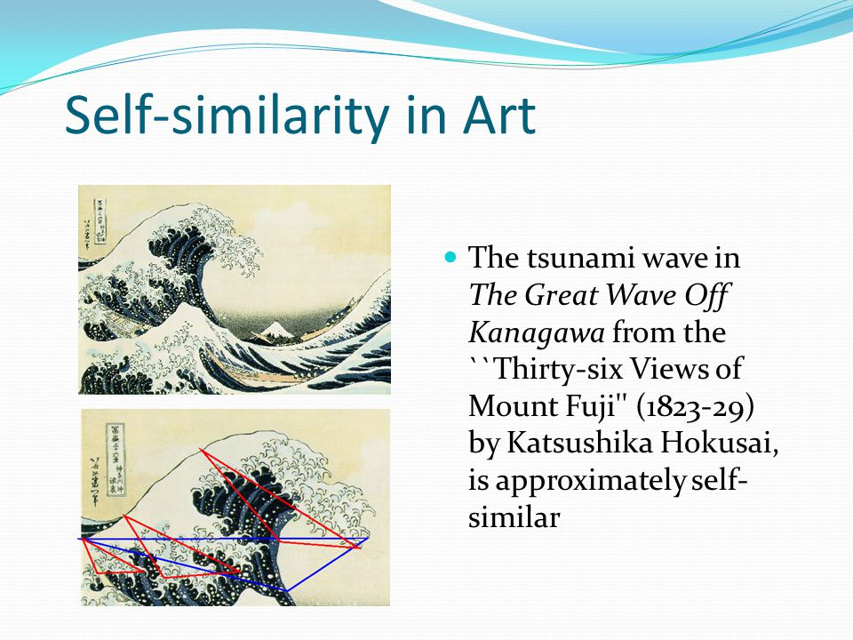 Self-similarity in Art The tsunami wave in The Great Wave Off Kanagawa from the ``Thirty-six Views of Mount Fuji'' (1823-29) by Katsushika Hokusai, is