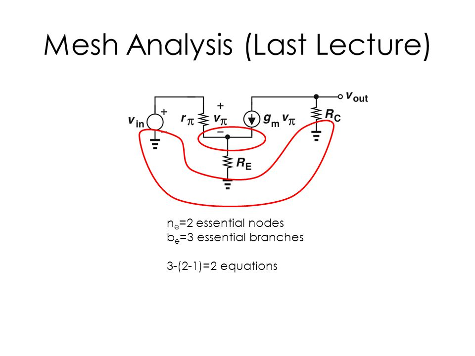 Mesh Analysis (Last Lecture) n e =2 essential nodes b e =3 essential branches 3-(2-1)=2 equations