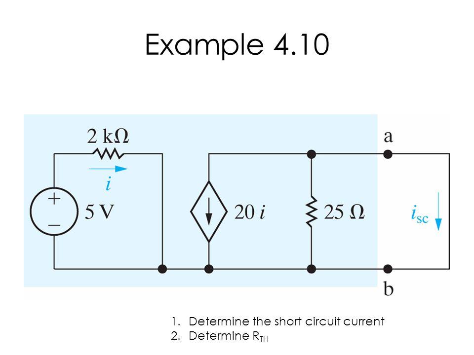 Example 4.10 1.Determine the short circuit current 2.Determine R TH