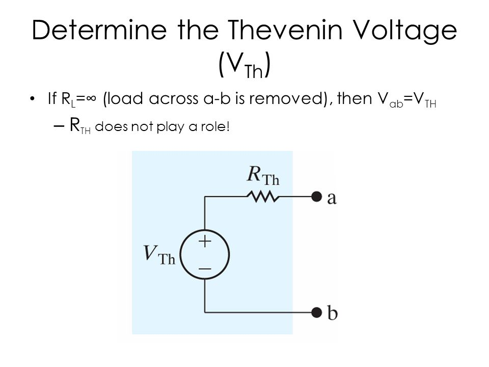 Determine the Thevenin Voltage (V Th ) If R L =∞ (load across a-b is removed), then V ab =V TH – R TH does not play a role!