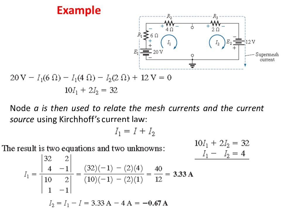 Example Node a is then used to relate the mesh currents and the current source using Kirchhoff's current law: