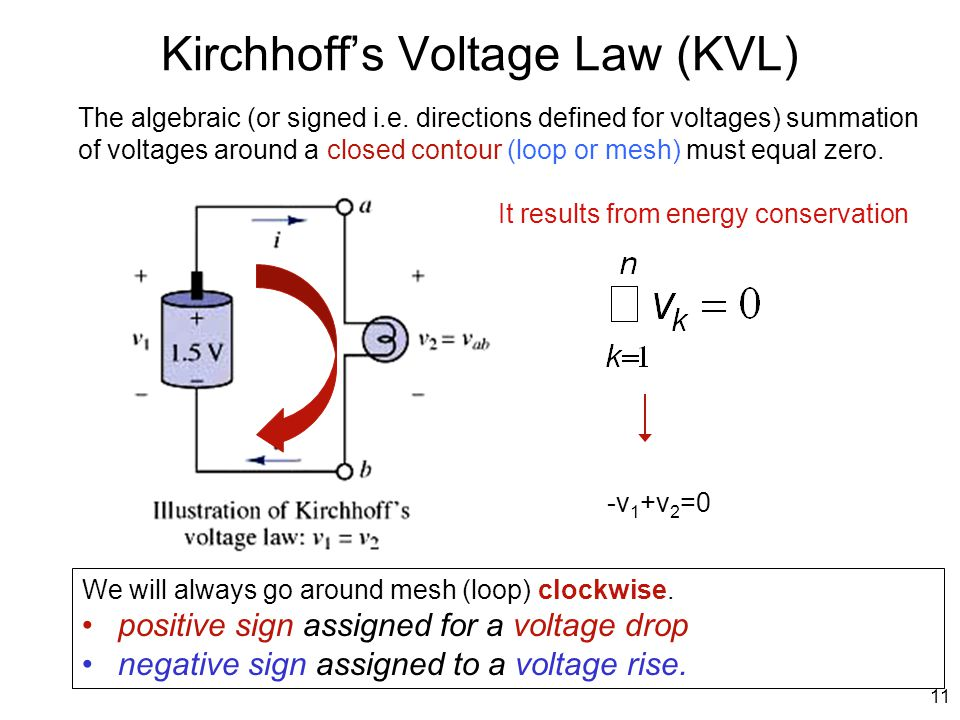 Kirchhoff's Voltage Law (KVL) The algebraic (or signed i.e. directions defined for voltages) summation of voltages around a closed contour (loop or me