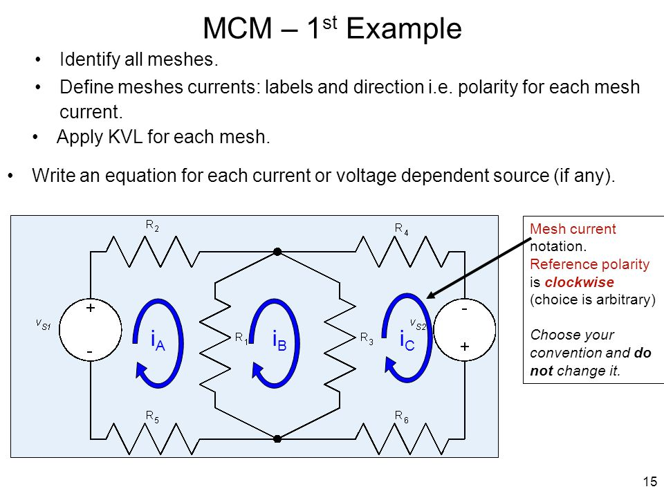 MCM – 1 st Example Write an equation for each current or voltage dependent source (if any). Define meshes currents: labels and direction i.e. polarity