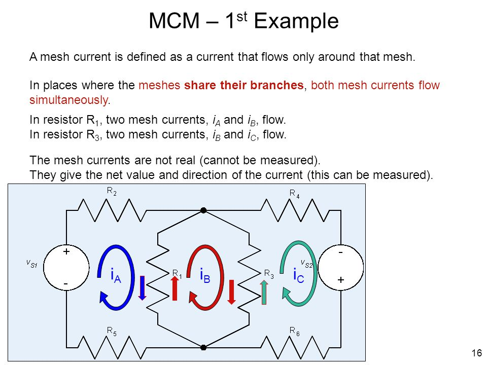 MCM – 1 st Example 16 iAiA iBiB iCiC A mesh current is defined as a current that flows only around that mesh. In places where the meshes share their b