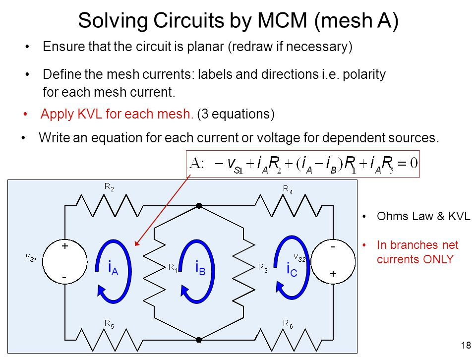 A Solving Circuits by MCM (mesh A) Ensure that the circuit is planar (redraw if necessary) Write an equation for each current or voltage for dependent