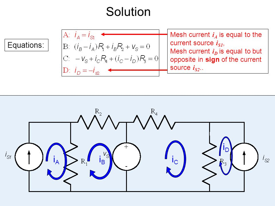 Solution Equations: Mesh current i A is equal to the current source i S1, Mesh current i D is equal to but opposite in sign of the current source i S2