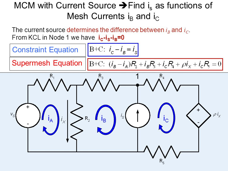 The current source determines the difference between i B and i C. From KCL in Node 1 we have i C -i S -i B =0 32 MCM with Current Source  Find i s as