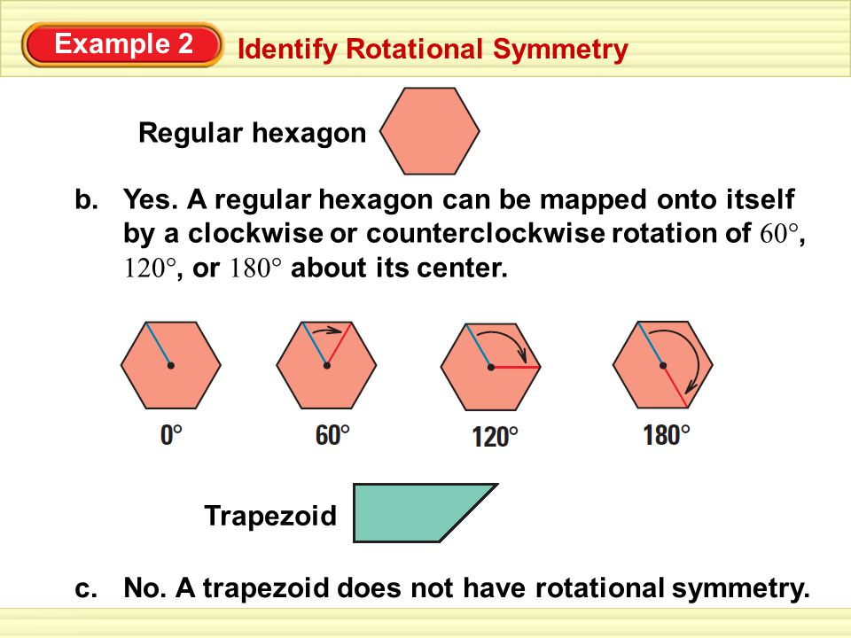 Identify Rotational Symmetry Example 2 Does the figure have rotational symmetry.