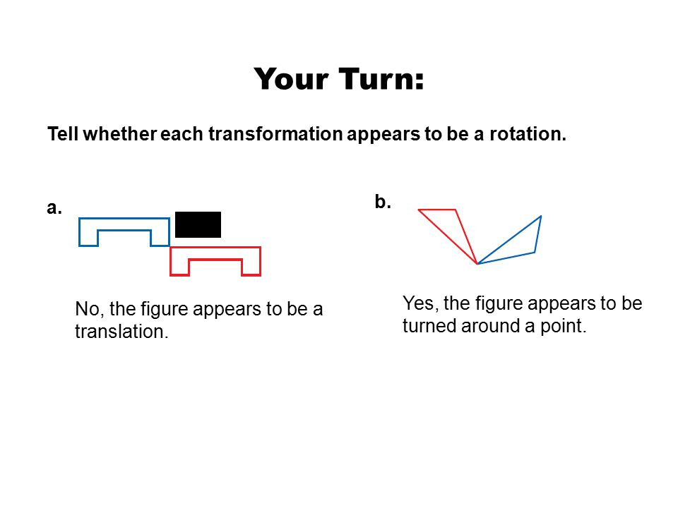 Example 1: Identifying Rotations Tell whether each transformation appears to be a rotation.