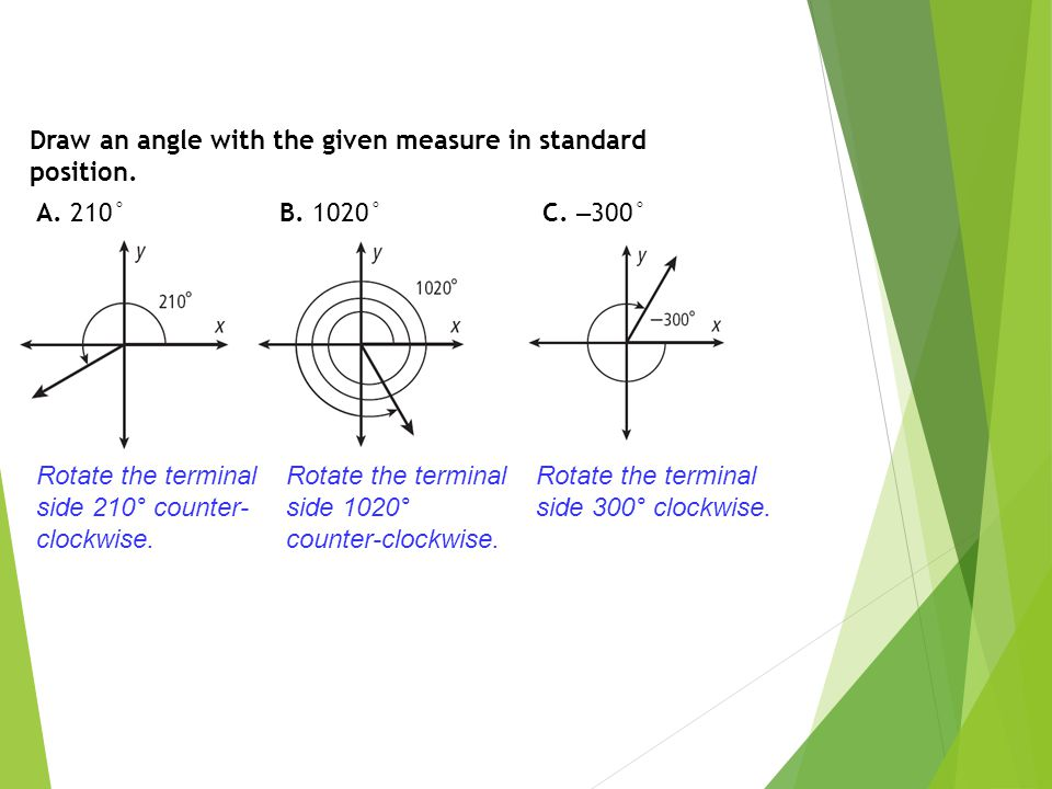 Convert each measure from degrees to radians or from radians to degrees.