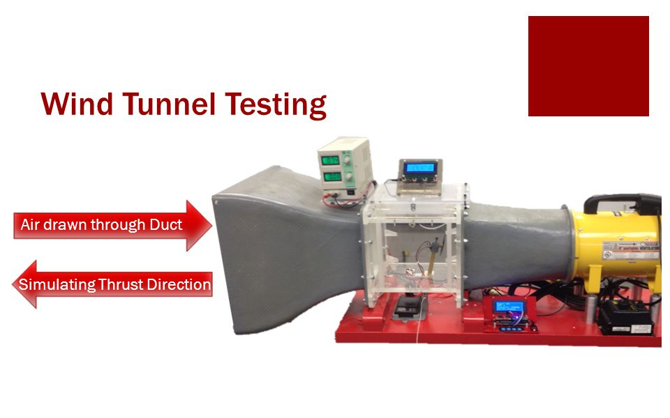 Wind Tunnel Testing Air drawn through Duct Simulating Thrust Direction