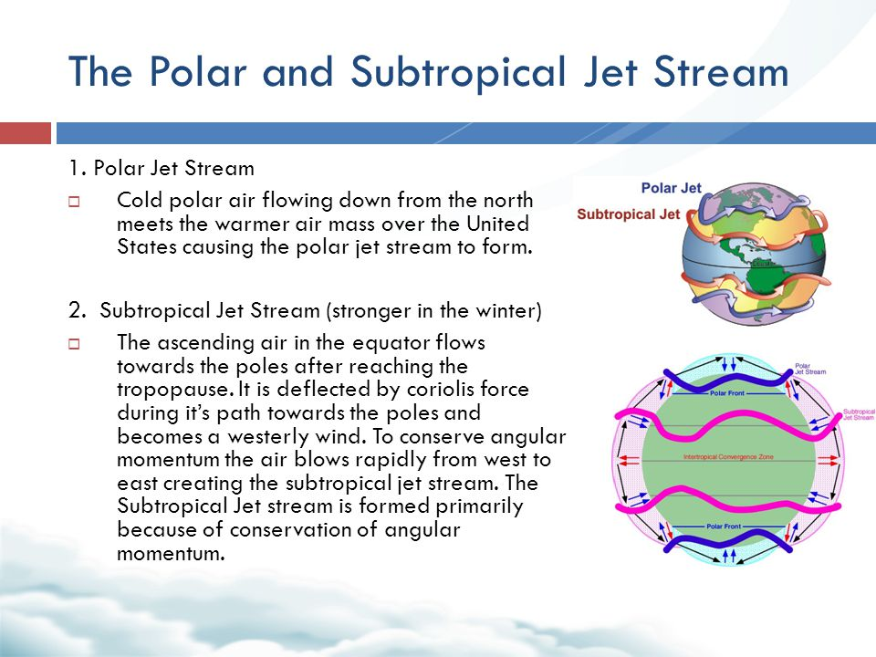 The Polar and Subtropical Jet Stream 1. Polar Jet Stream  Cold polar air flowing down from the north meets the warmer air mass over the United States