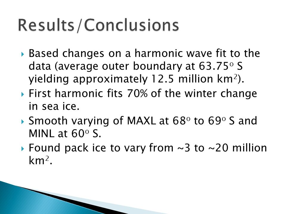  Based changes on a harmonic wave fit to the data (average outer boundary at 63.75 o S yielding approximately 12.5 million km 2 ).