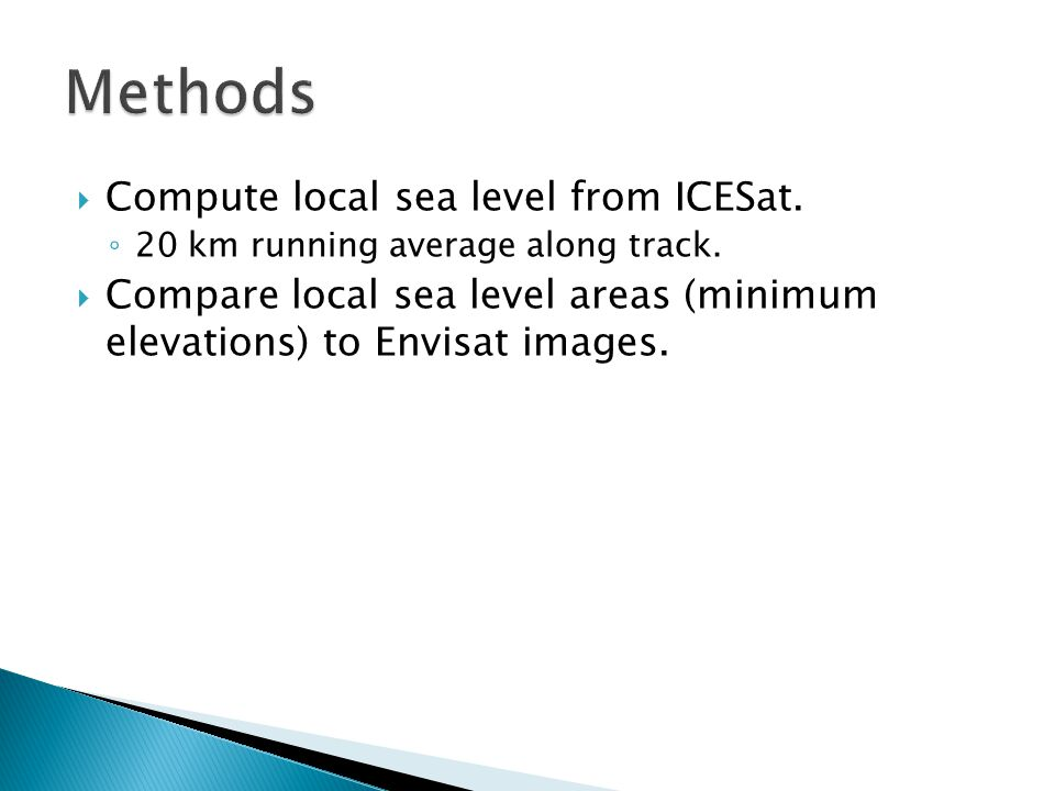  Compute local sea level from ICESat. ◦ 20 km running average along track.