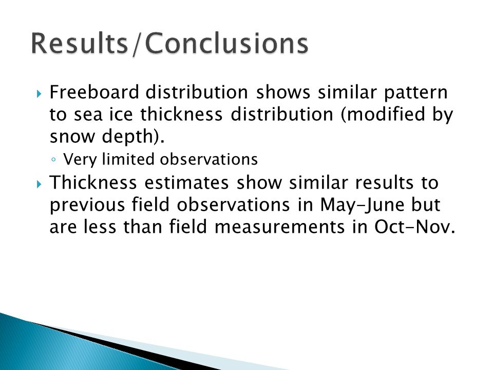  Freeboard distribution shows similar pattern to sea ice thickness distribution (modified by snow depth). ◦ Very limited observations  Thickness est