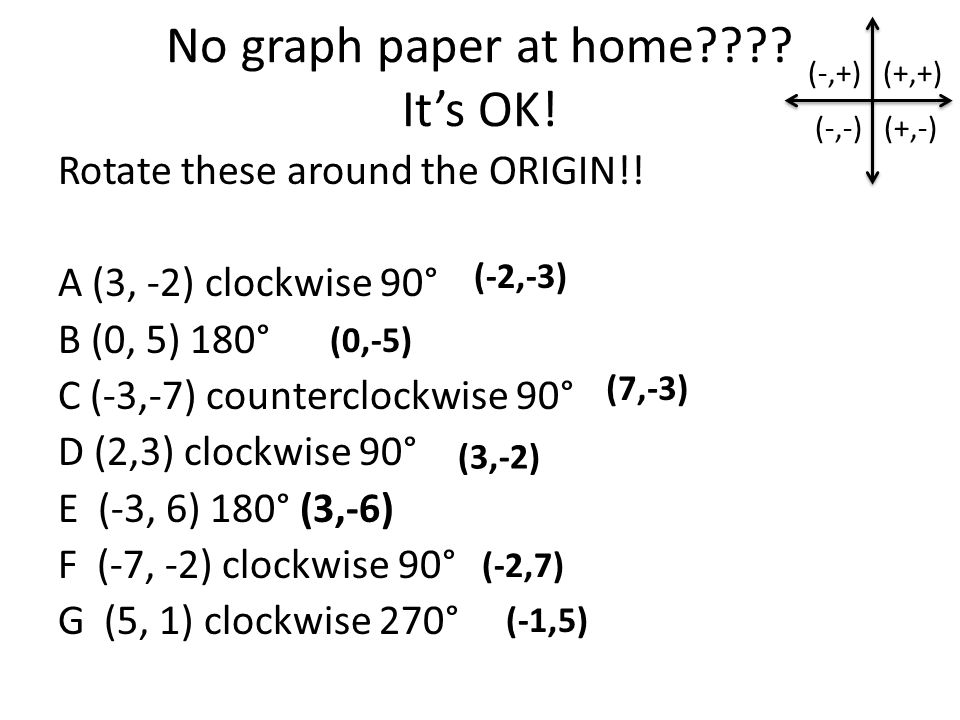 No graph paper at home . It's OK. Rotate these around the ORIGIN!.