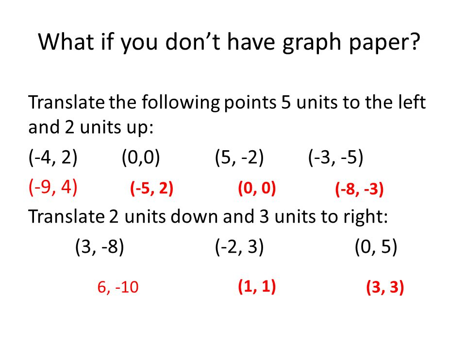 What if you don't have graph paper? Translate the following points 5 units to the left and 2 units up: (-4, 2)(0,0)(5, -2)(-3, -5) (-9, 4) Translate 2